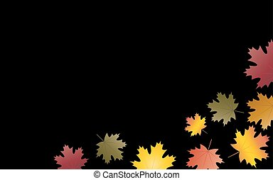 Autumn leaves background black