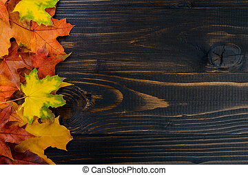 colorful fall maple leaves on rustic wooden table, top view