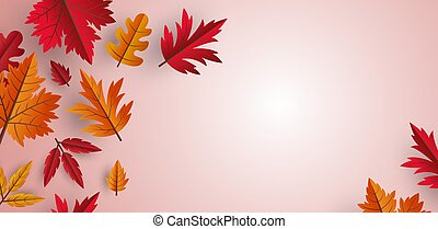 Autumn leaves background design with copy space vector illustration