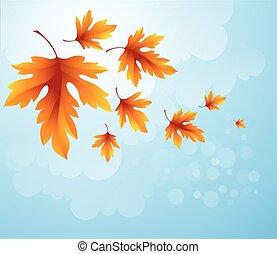 Autumn leaves background of blue sky. Vector illustration