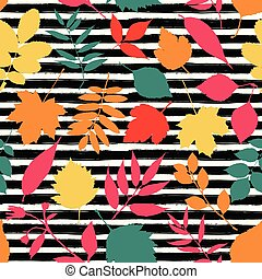 Autumn leaves background seamless the background black with stripes