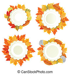 Autumn leaves background vector banner template