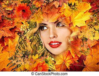 Autumn leaves background with beauty face of beautiful woman close