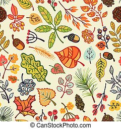 Autumn leaves, berries, pine branches seamless pattern