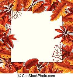 Autumn leaves border concept