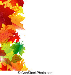 Autumn Leaves Border, Isolated On White Background, Vector Illustration