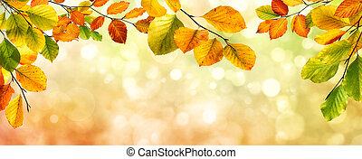 Autumn leaves border on bokeh background