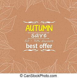 Autumn leaves border retro
