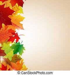 Autumn Leaves Border With Bokeh, Vector Illustration