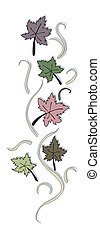 Autumn Leaves Border with Clipping Path