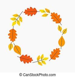 Autumn leaves circle border.