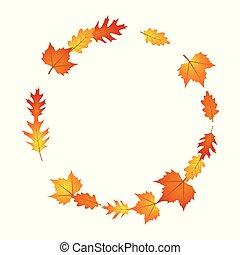 autumn leaves circle isolated on white background