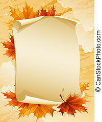Autumn leaves - Vector illustration - paper scroll with...