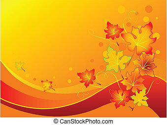 Autumn leaves - Vector background with colorful autumn...