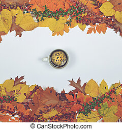 Autumn leaves cones and acorn on white background with cup of coffee in center - Flat lay of Autumnal background