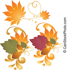 Autumn leaves - design elements