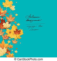 Autumn leaves design on green background