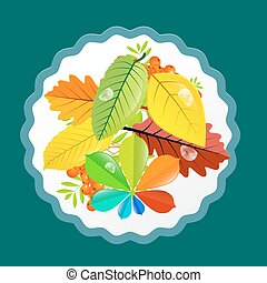 Autumn Leaves Design. Vector Flat Retro Colorful Background.