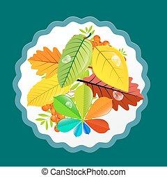 Autumn Leaves Design. Vector Flat Retro Colorful Background.