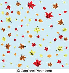 Autumn leaves fall, blue sky