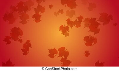 Autumn leaves falling down with orange and yellow...