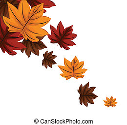 Autumn leaves falling illustration