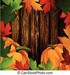 Autumn leaves frame and pumpkins on wooden texture - autumn...