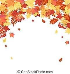 Autumn Leaves Frame - Autumn Frame With Maple, Rowan, Oak...