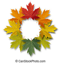 Autumn leaves decorative circular frame with a blank center as a seasonal decoration of the fall season and the transition from summer to winter on a white background.