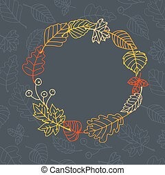 Autumn leaves frame - Frame made of colorful autumn leaves...