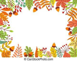 Autumn leaves frame. Fallen yellow leaf, september foliage and autumnal garden leaves border vector illustration