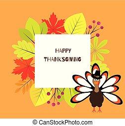 autumn leaves frame - vector Thanksgiving Day frame