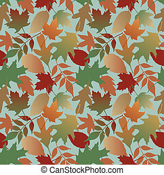 Autumn Leaves Gradient_Blue - Seamless pattern of Autumn...