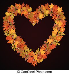 Autumn leaves heart shaped backgrou