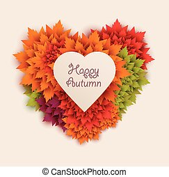 autumn leaves heart shaped - vector
