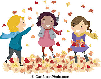 Autumn Leaves - Illustration of Stick Kids Playing with...