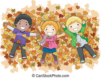 Autumn Leaves - Illustration of Kids Playing with Autumn...