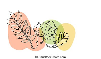 Autumn leaves in a hand drawn linear style with colorful abstract stains. Isolated on white.