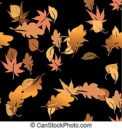 Autumn leaves in a water