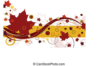 Autumn leaves with large red leaves and abstract design on a white background.