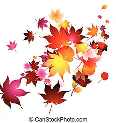 Autumn leaves in the air