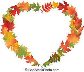autumn leaves, in, vorm, van, hart
