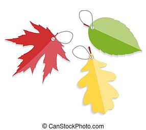 Autumn Leaves Labels Vector Illustration