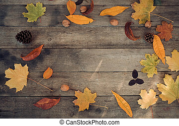 Autumn leaves lie in a circle on a wooden background. Copy space , top view .