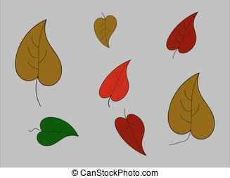 Autumn leaves on a gray background