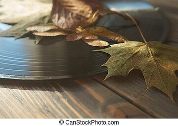Autumn leaves on a vintage vinyl record