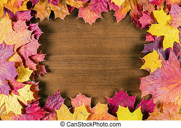 Autumn leaves on a wooden background.
