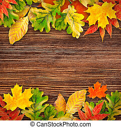 Autumn leaves on a wooden backgroun