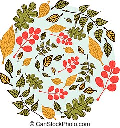 Autumn leaves on blue background - Autumn leaves on a light ...