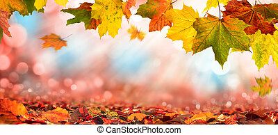 Autumn leaves on blurred background with sunlight